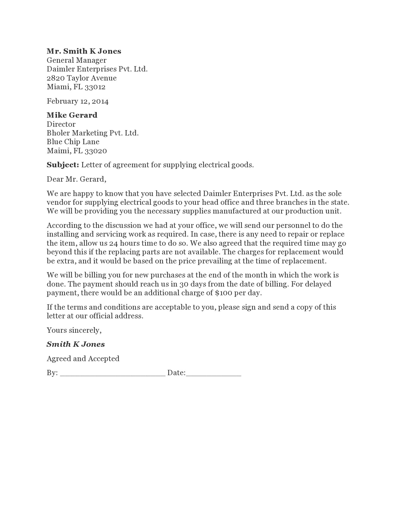 Free letter of agreement 08