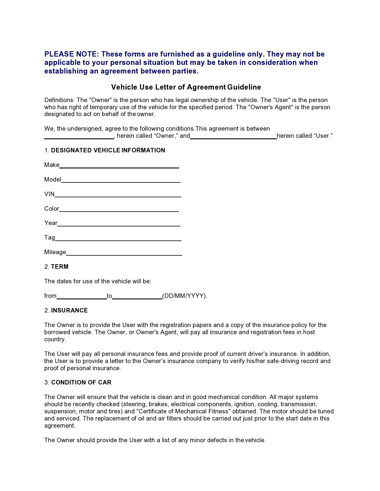 Free letter of agreement 14