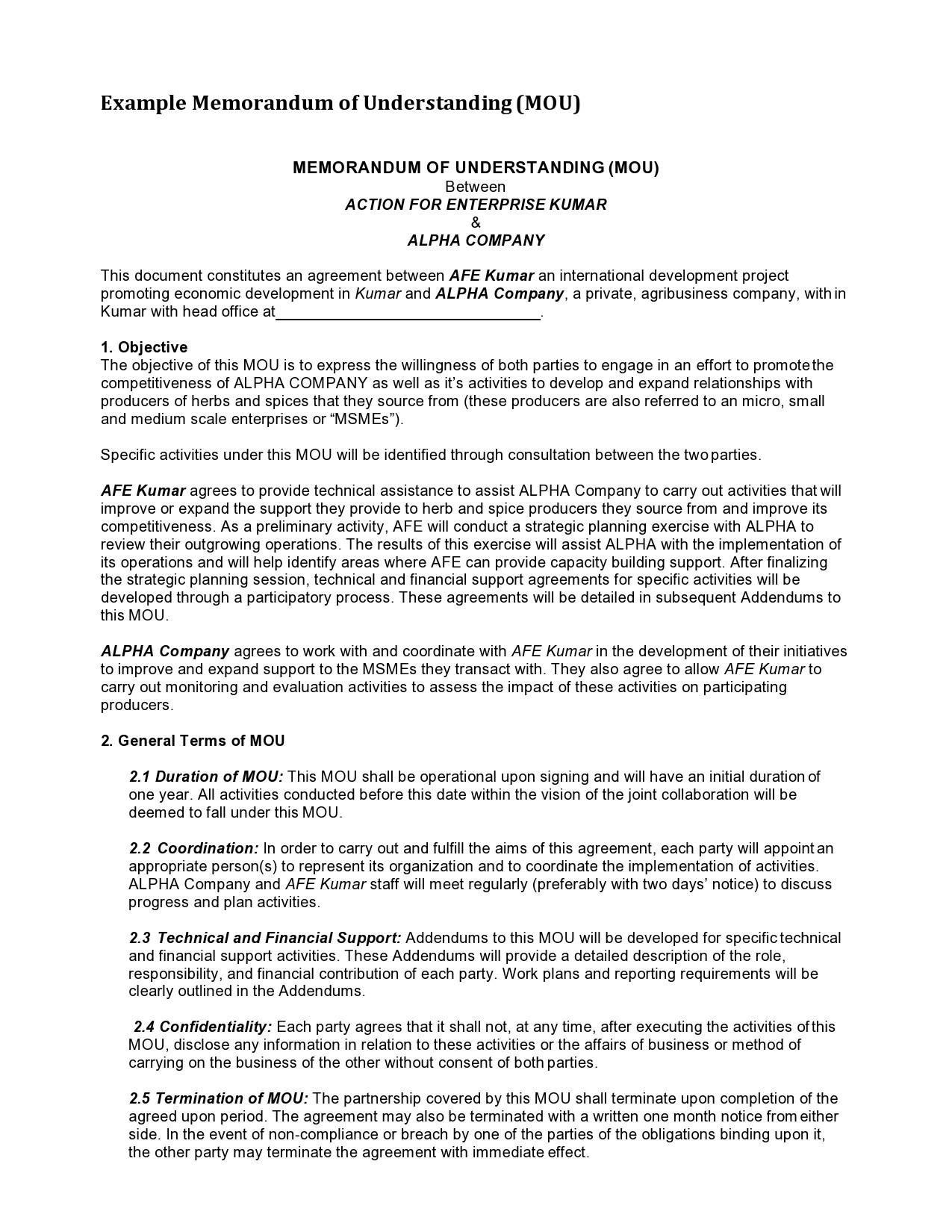 Free letter of agreement 15