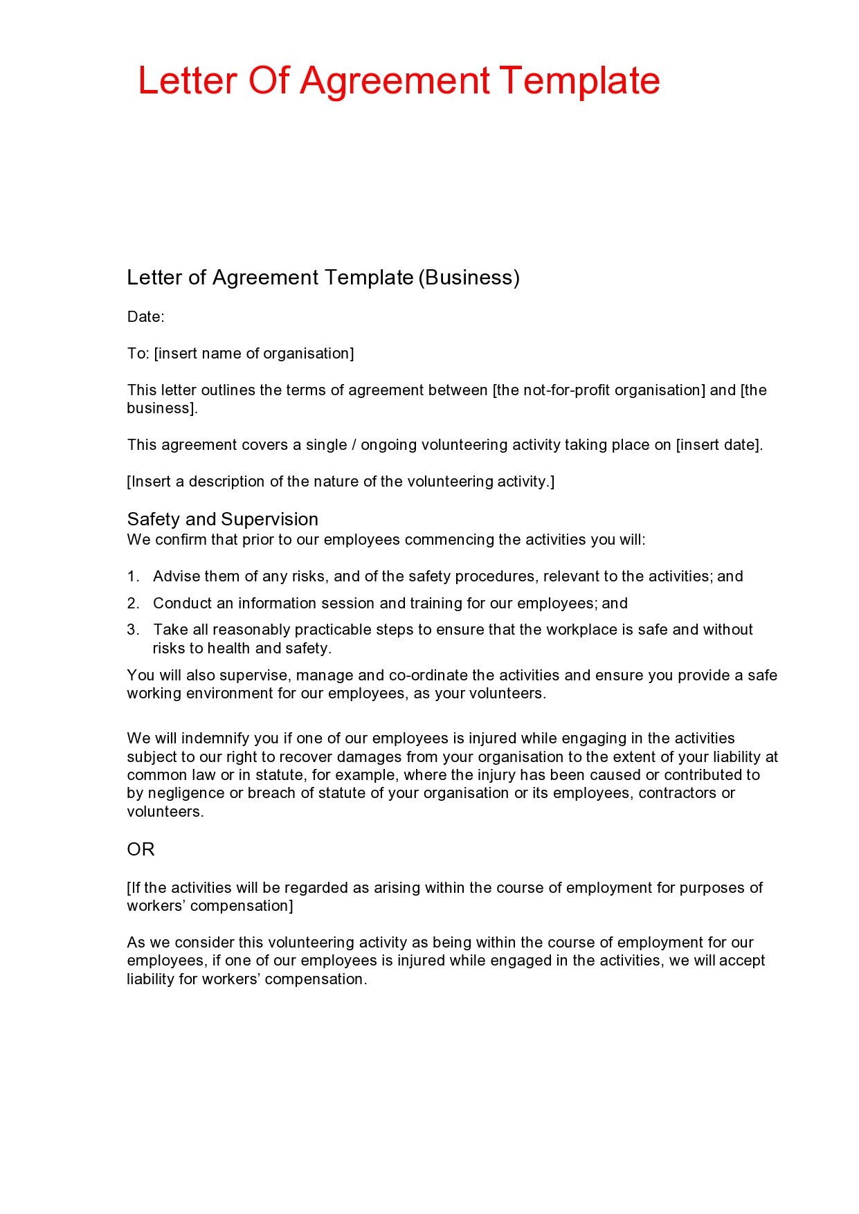 Free letter of agreement 16