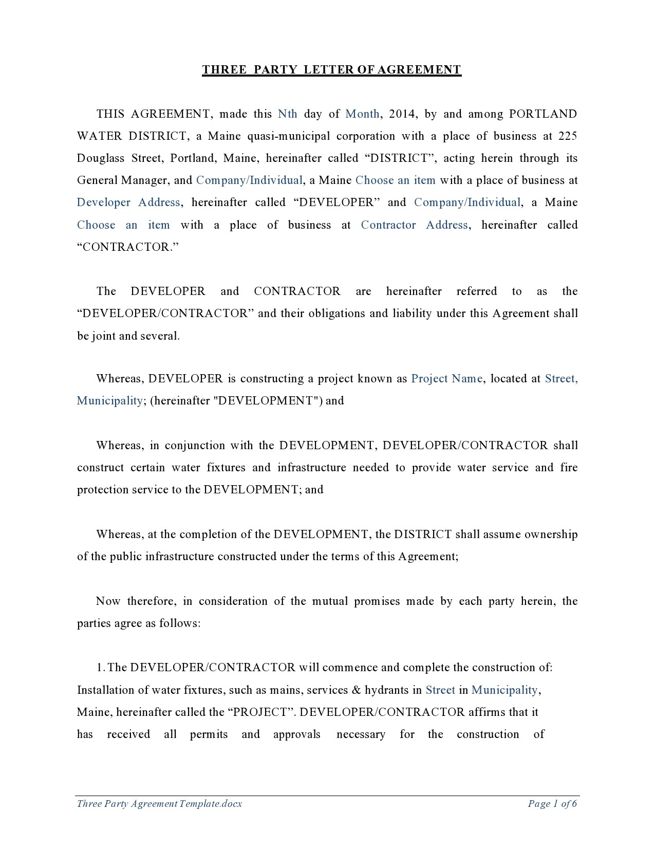 Free letter of agreement 17