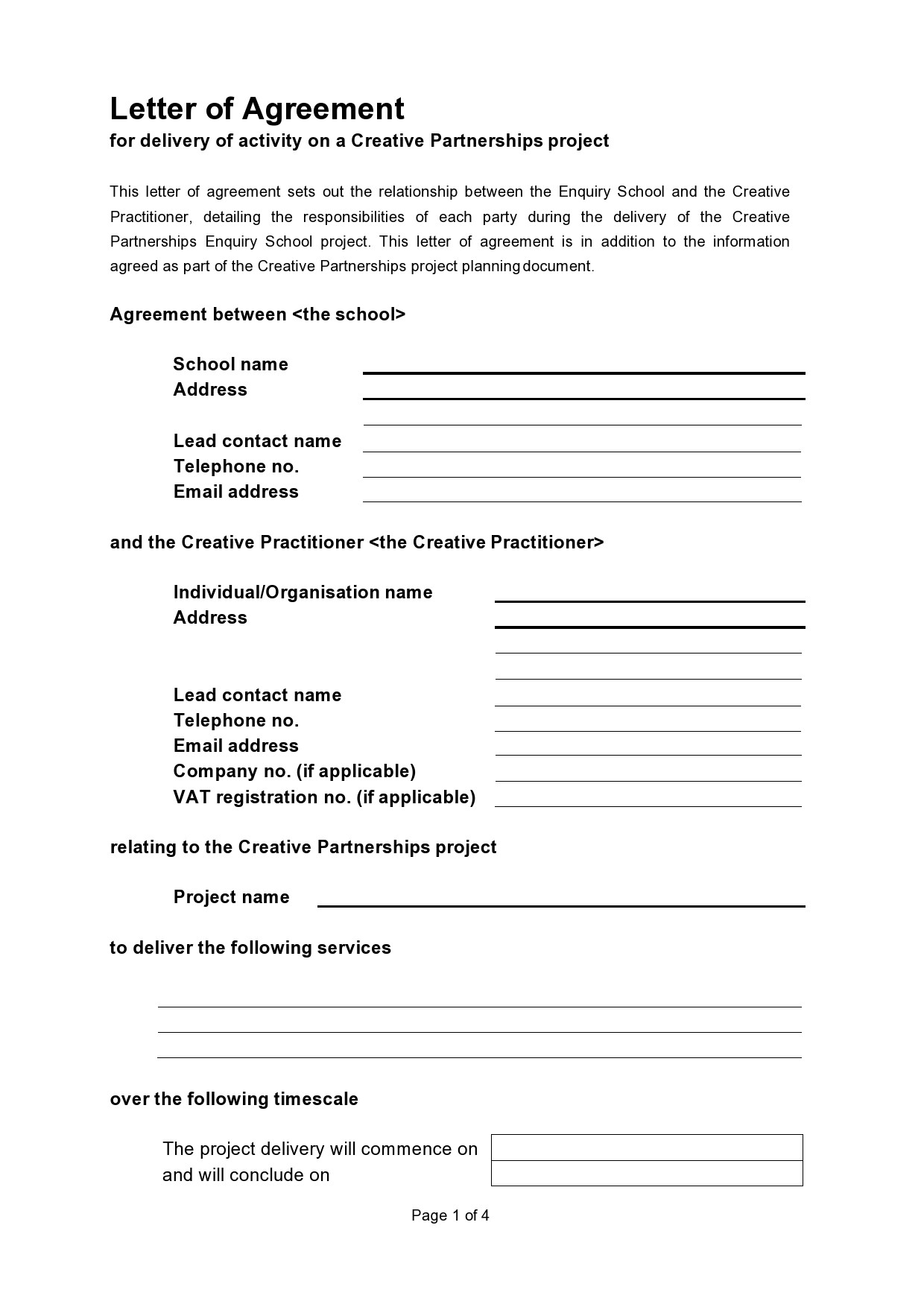 Free letter of agreement 20