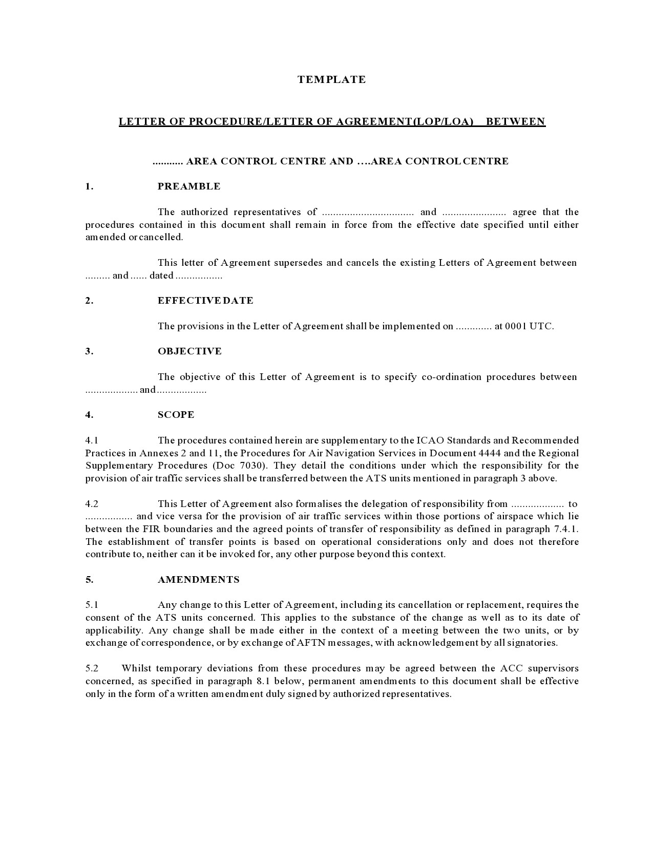 Free letter of agreement 25
