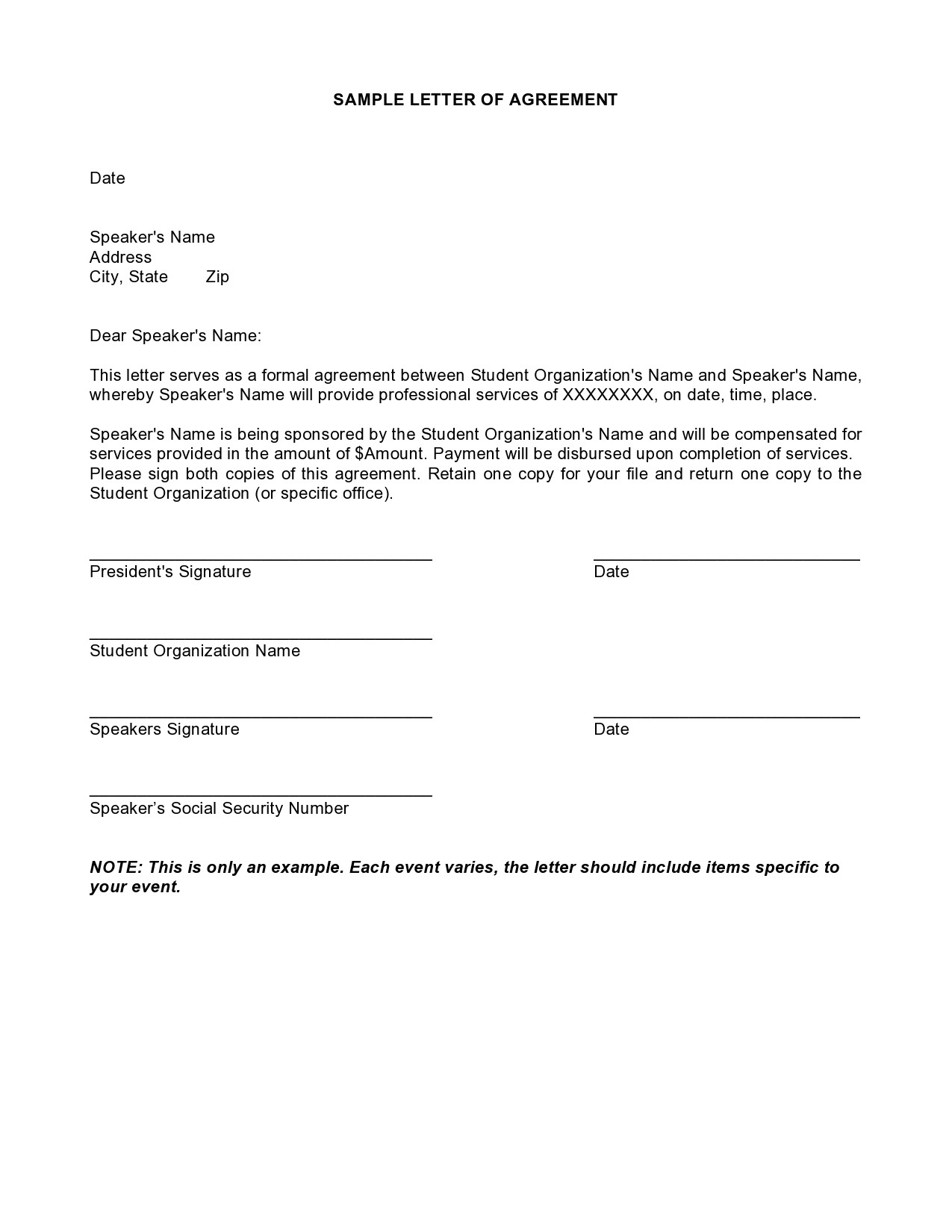 Free letter of agreement 26