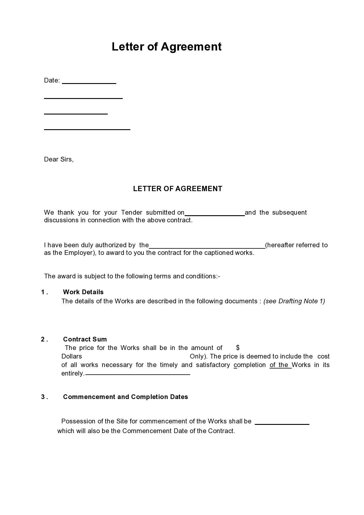 Free letter of agreement 27
