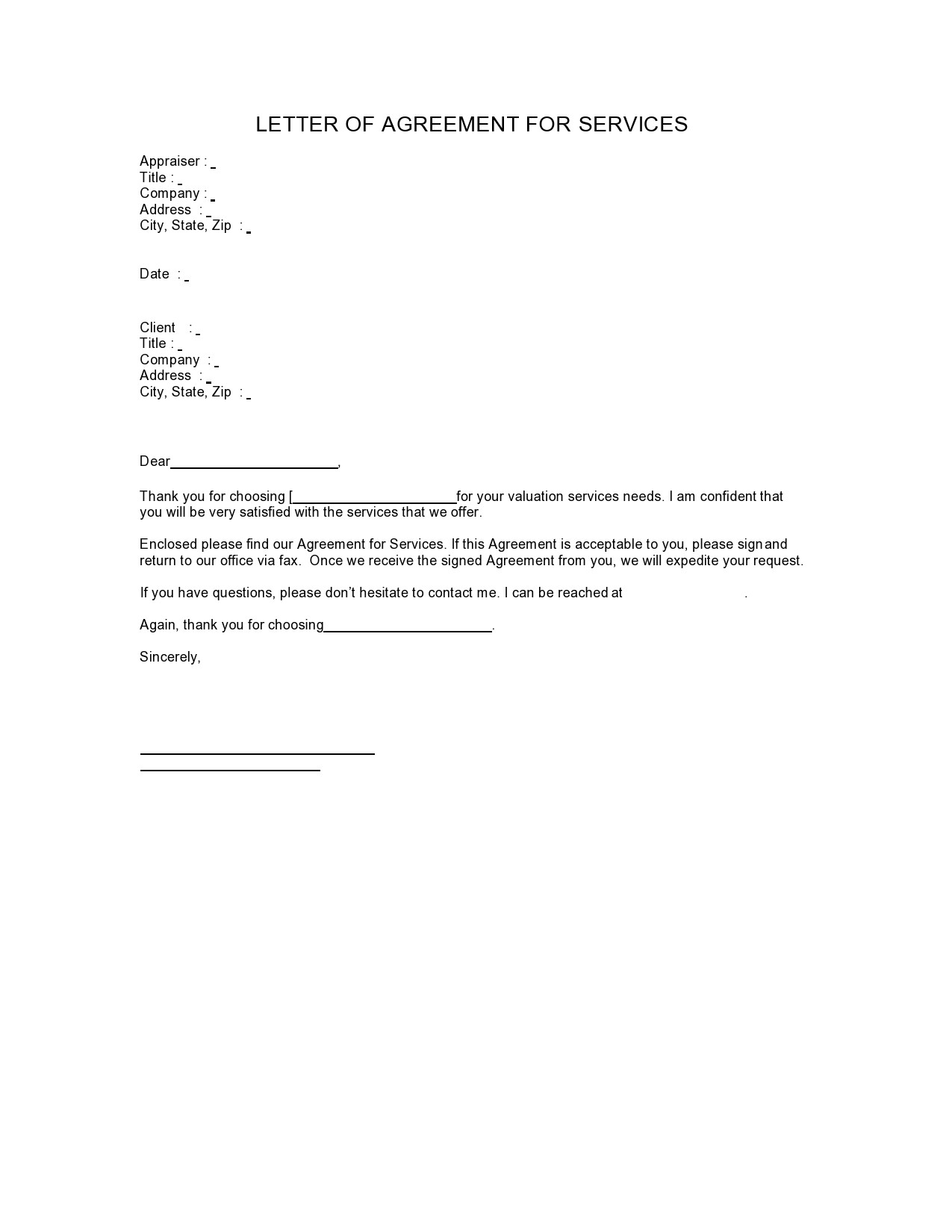 Free letter of agreement 28