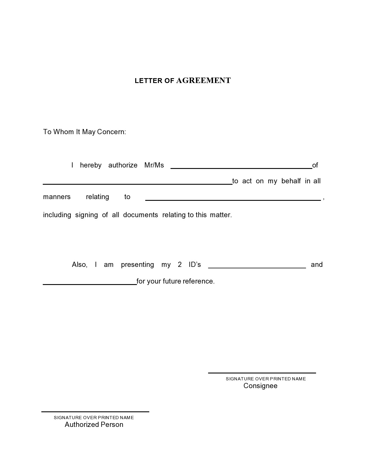 Free letter of agreement 29