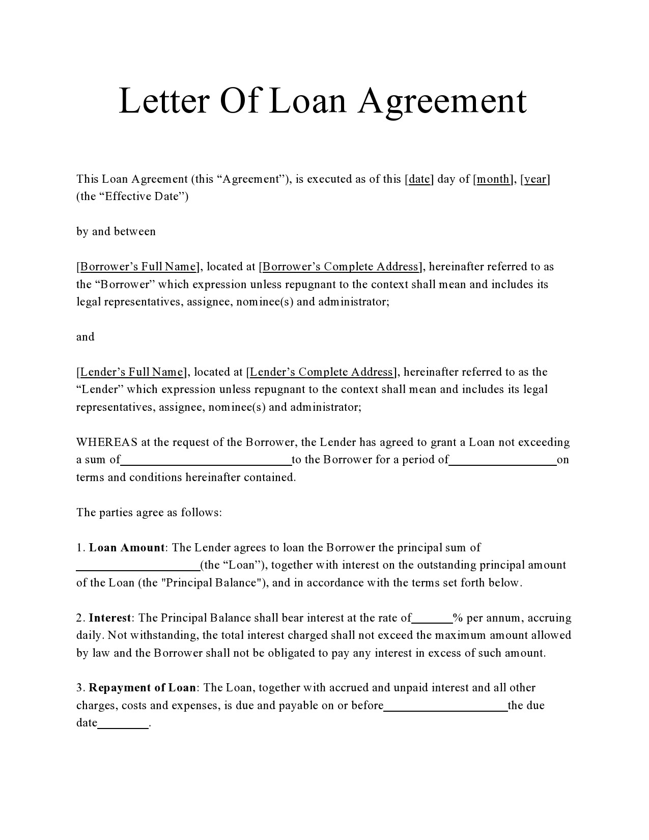 Free letter of agreement 30