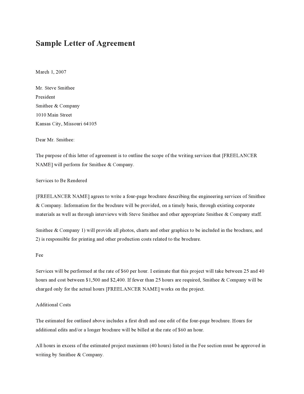 Free letter of agreement 34