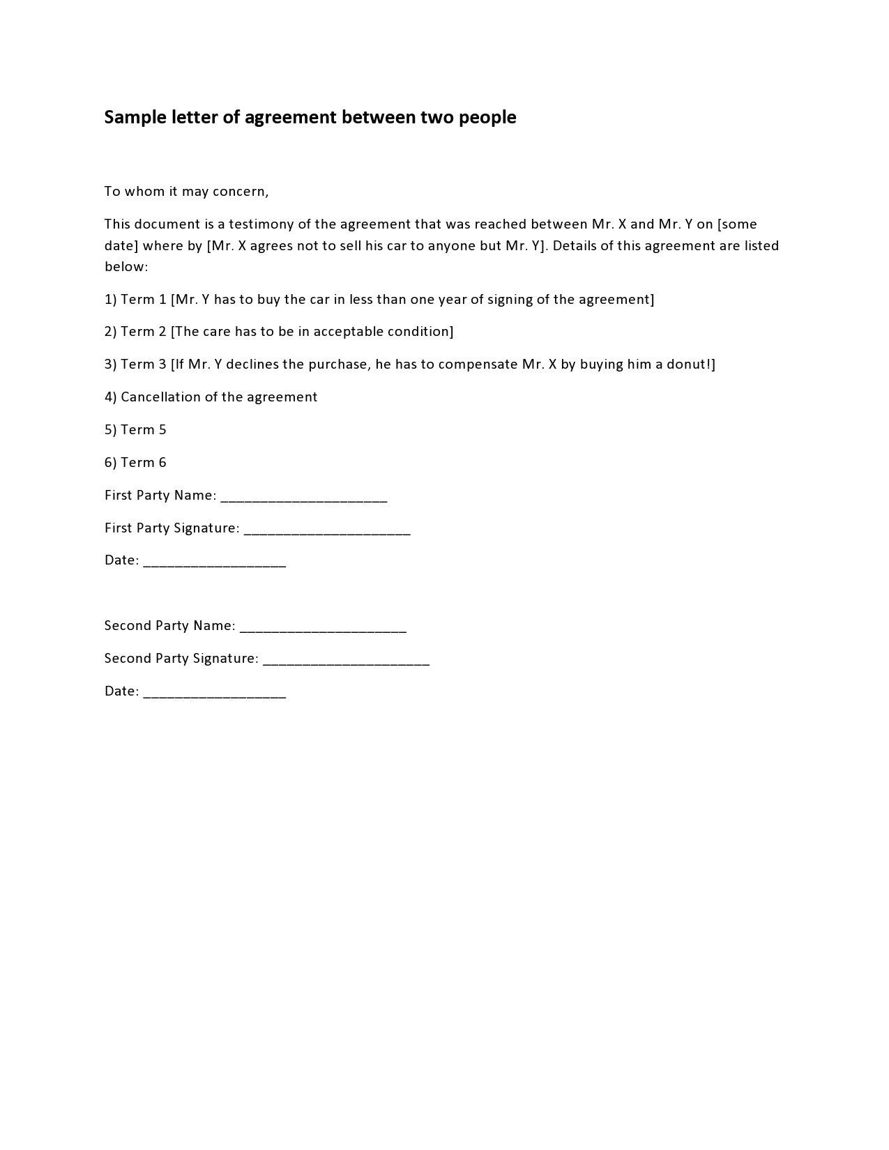 Free letter of agreement 35