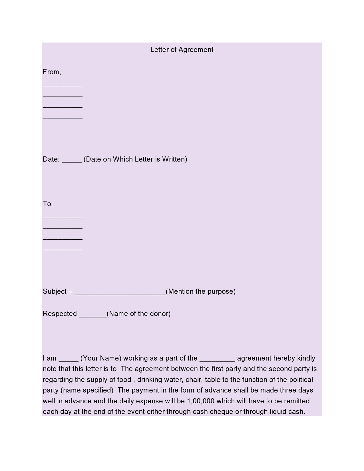 Free letter of agreement 36