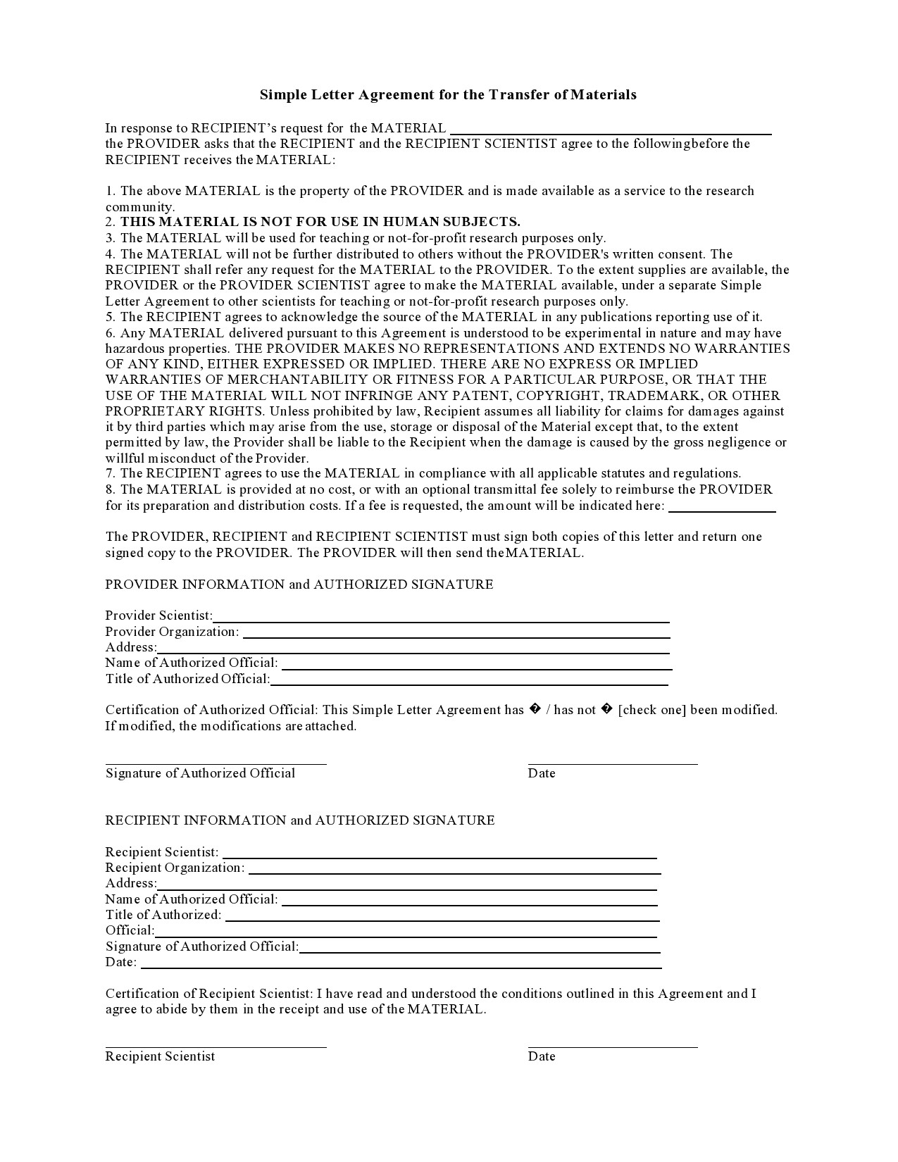 Free letter of agreement 37