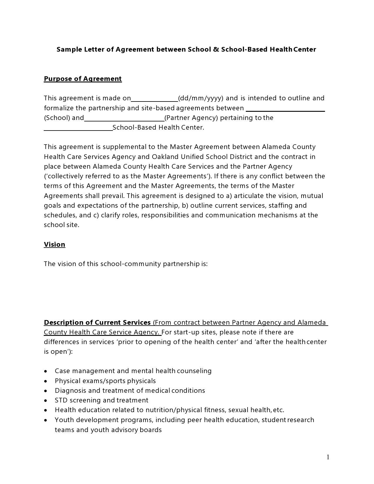 Free letter of agreement 40