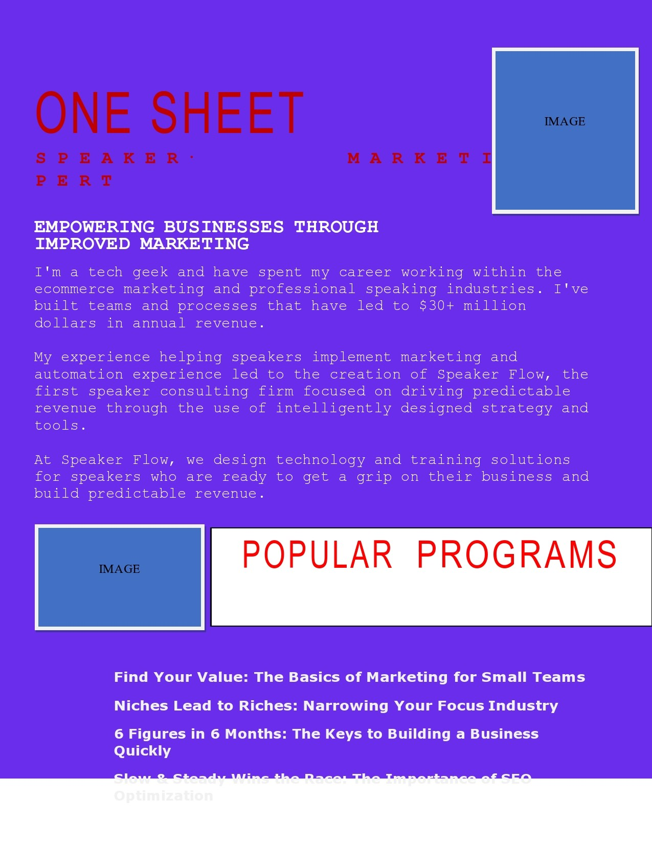 Free one sheet template 01