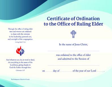 Ordination Certificates