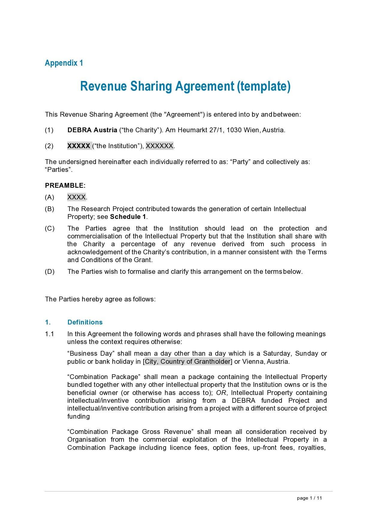 Free profit sharing agreement 02