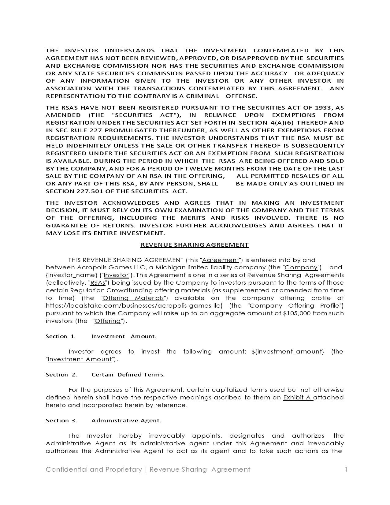 Free profit sharing agreement 05