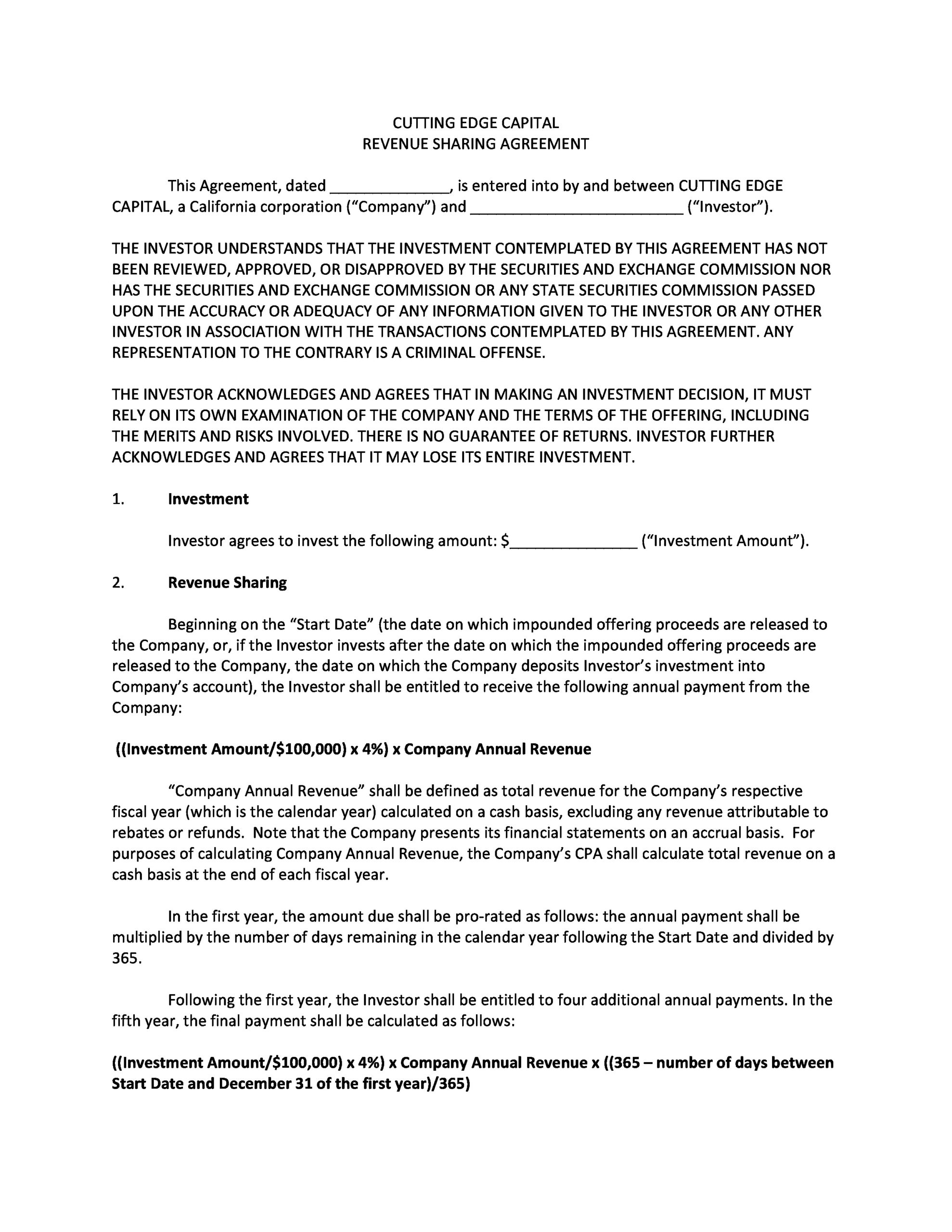 Free profit sharing agreement 06