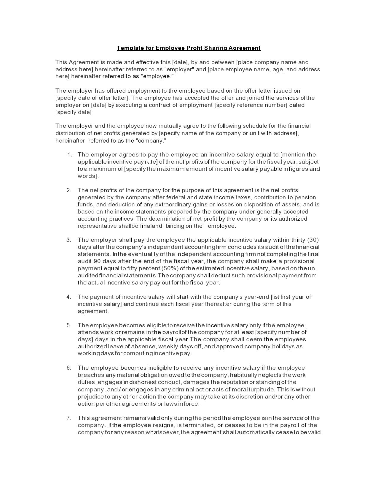 Free profit sharing agreement 11
