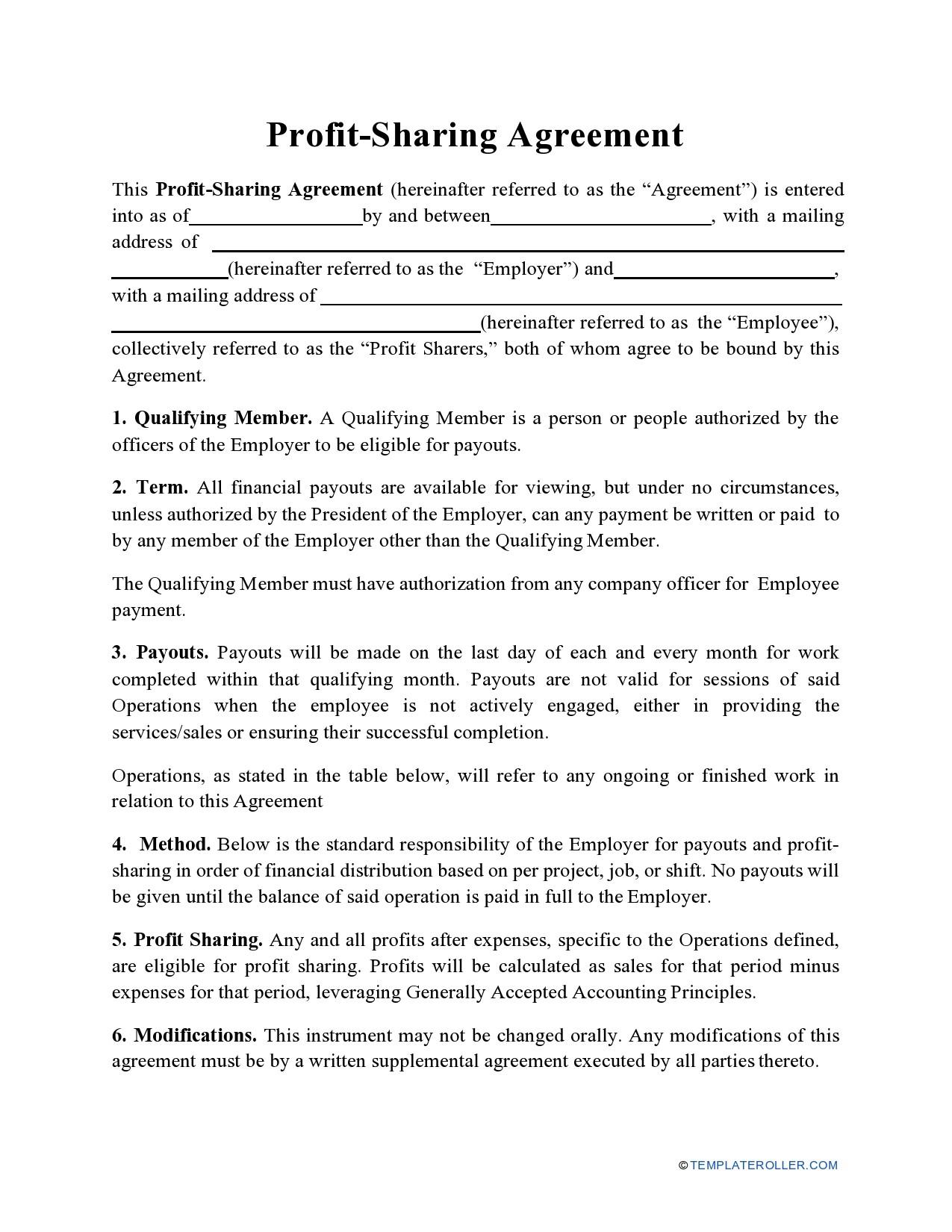 Free profit sharing agreement 12