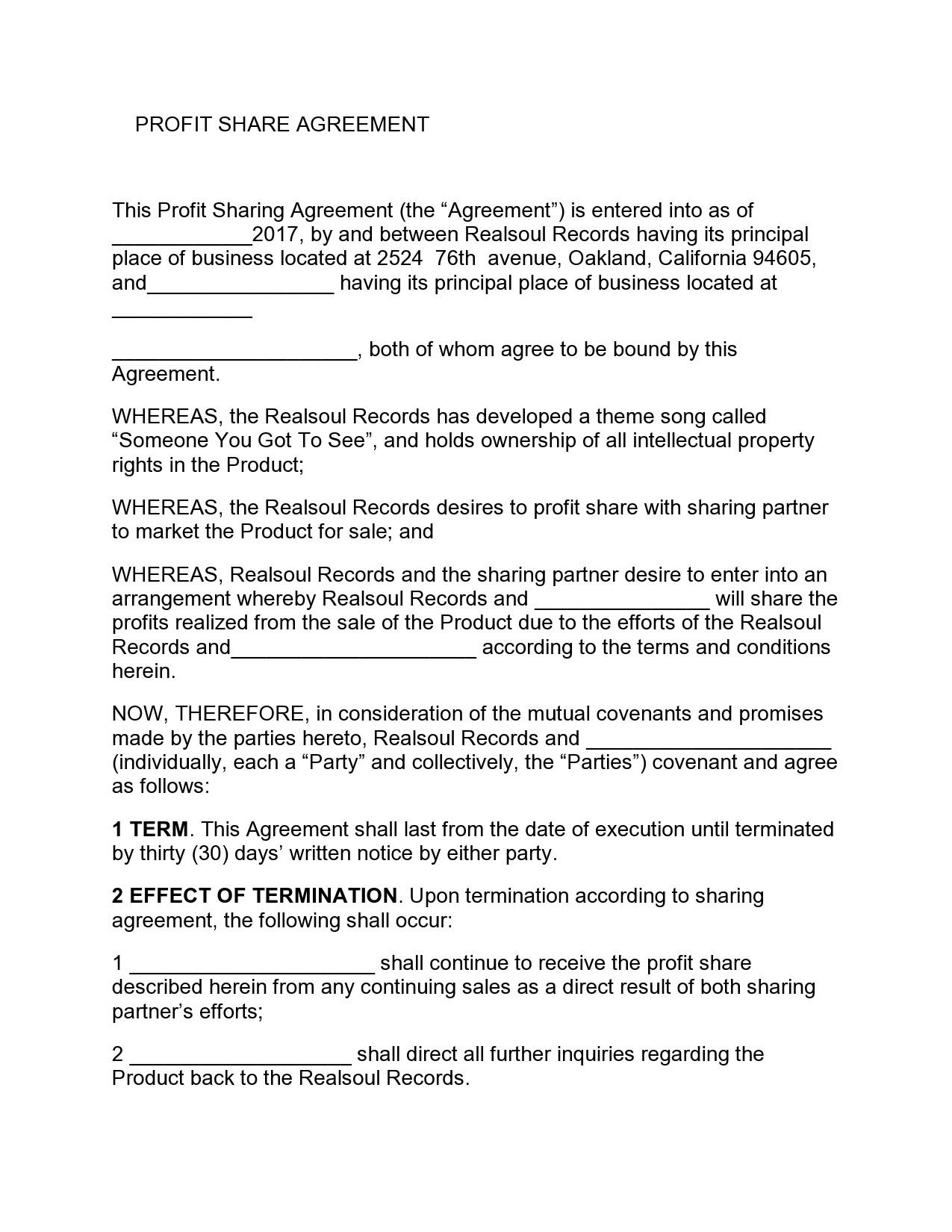 Free profit sharing agreement 13