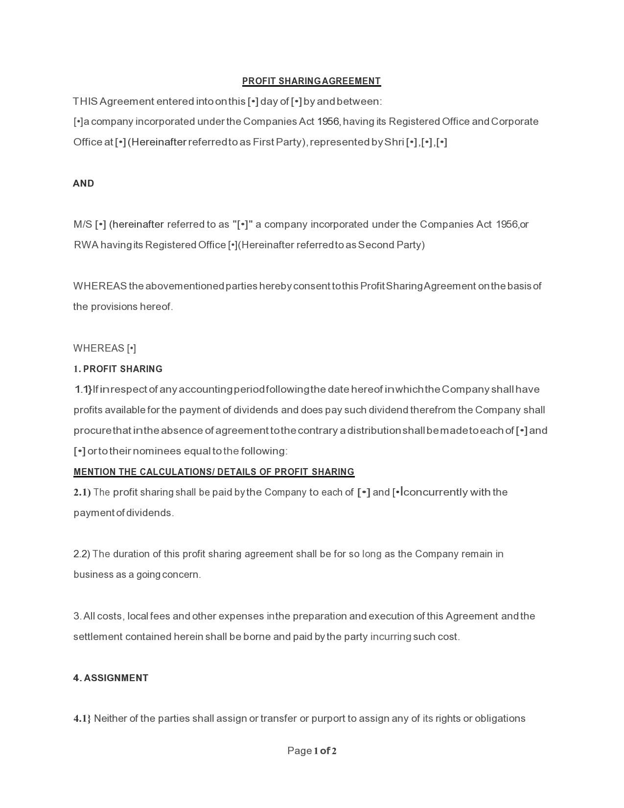 Free profit sharing agreement 17