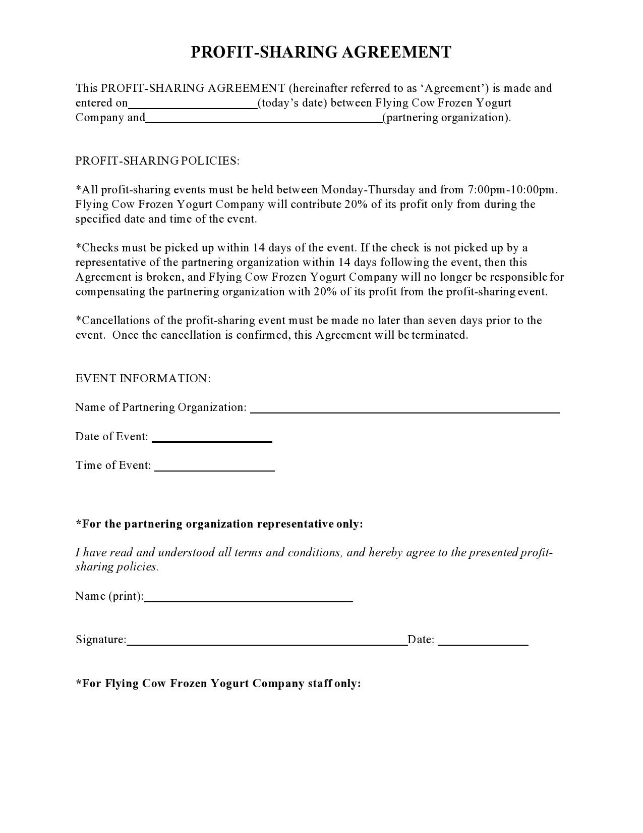 Free profit sharing agreement 18