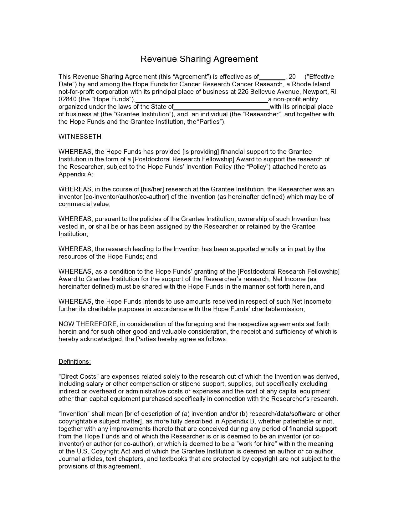 Free profit sharing agreement 29