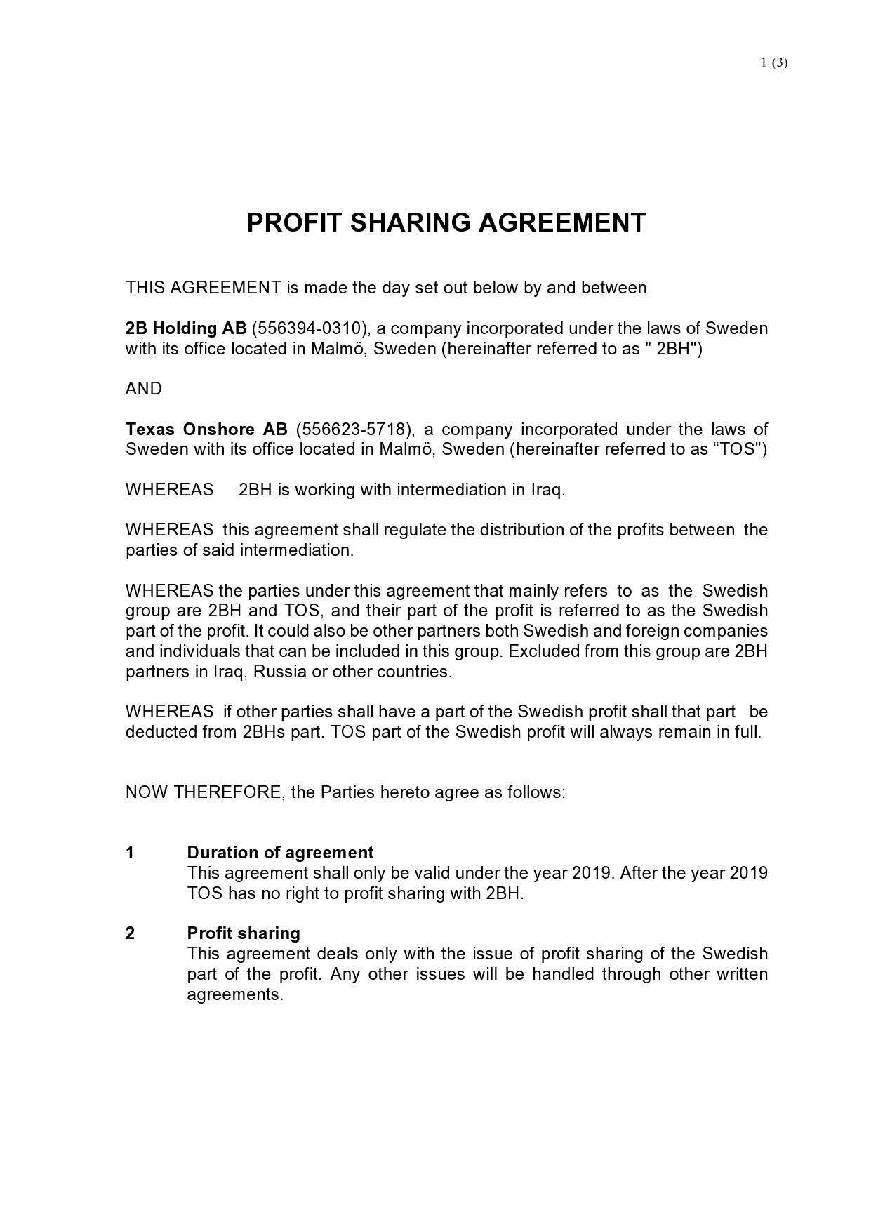 Free profit sharing agreement 33