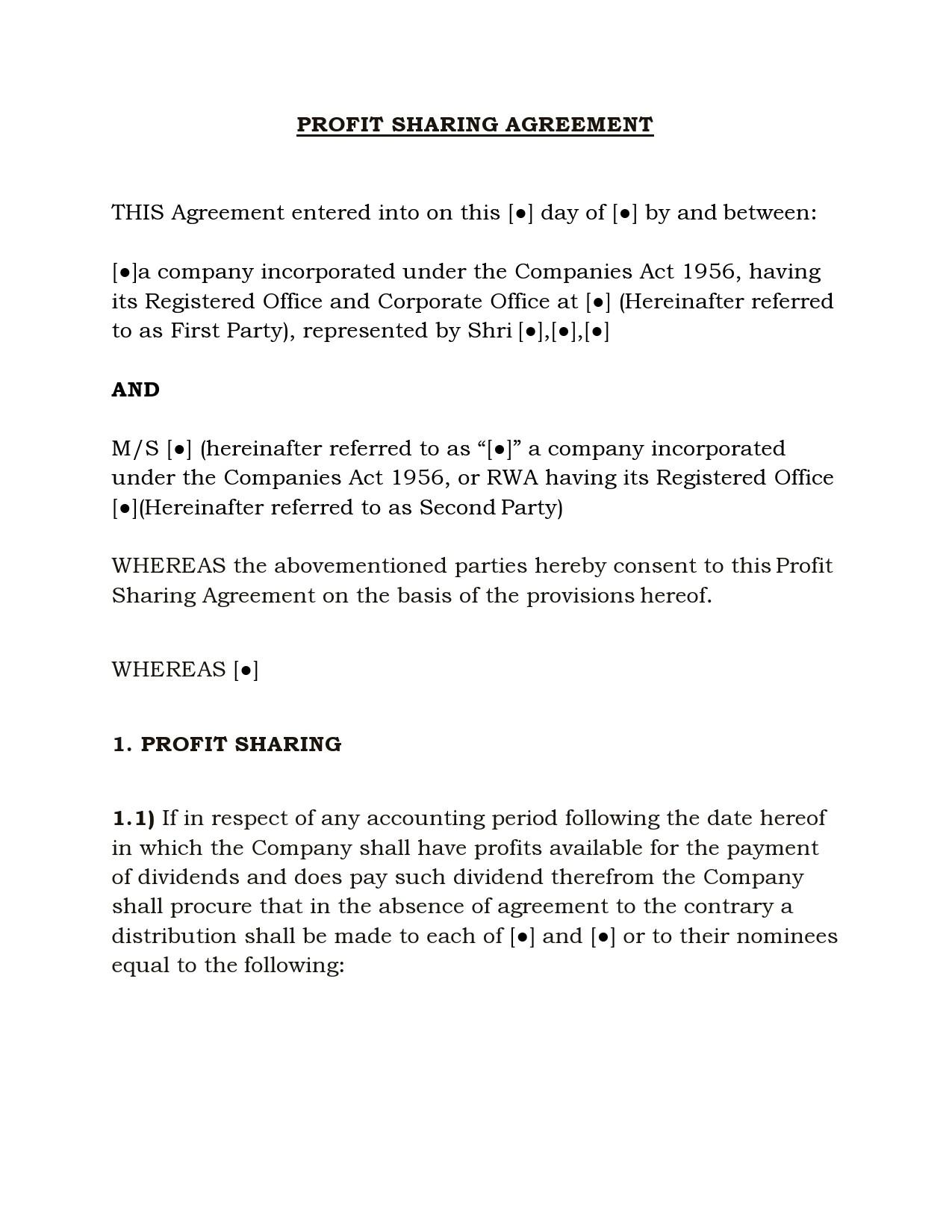 Free profit sharing agreement 36