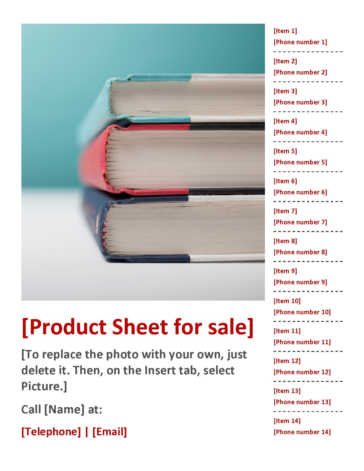 Free sell sheet template 24