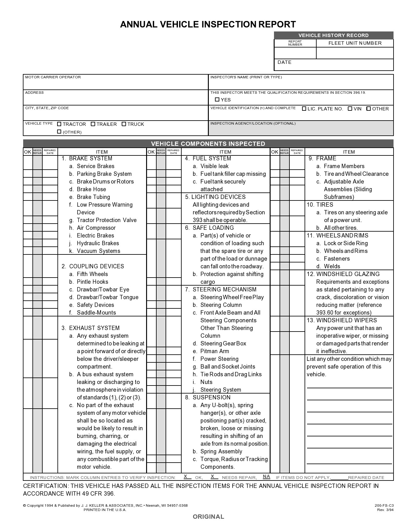Free vehicle inspection form 01