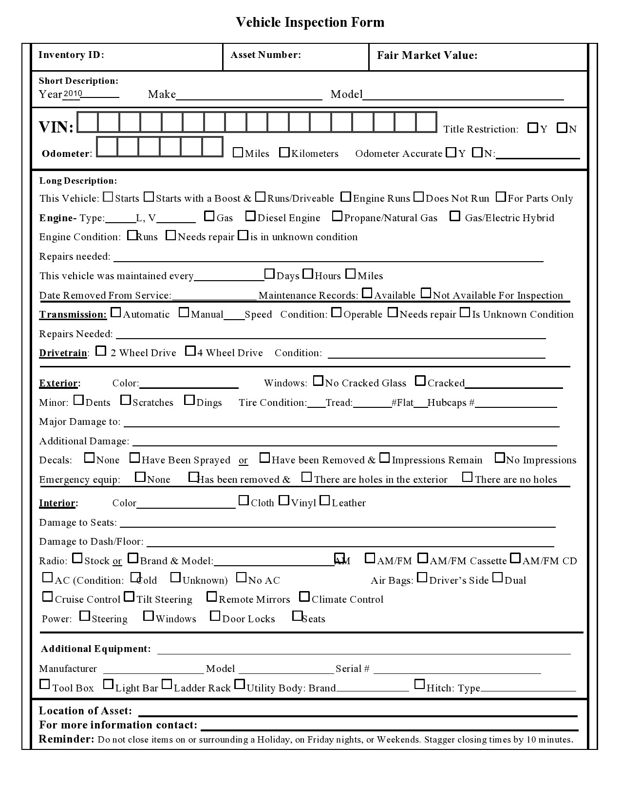 Free vehicle inspection form 05