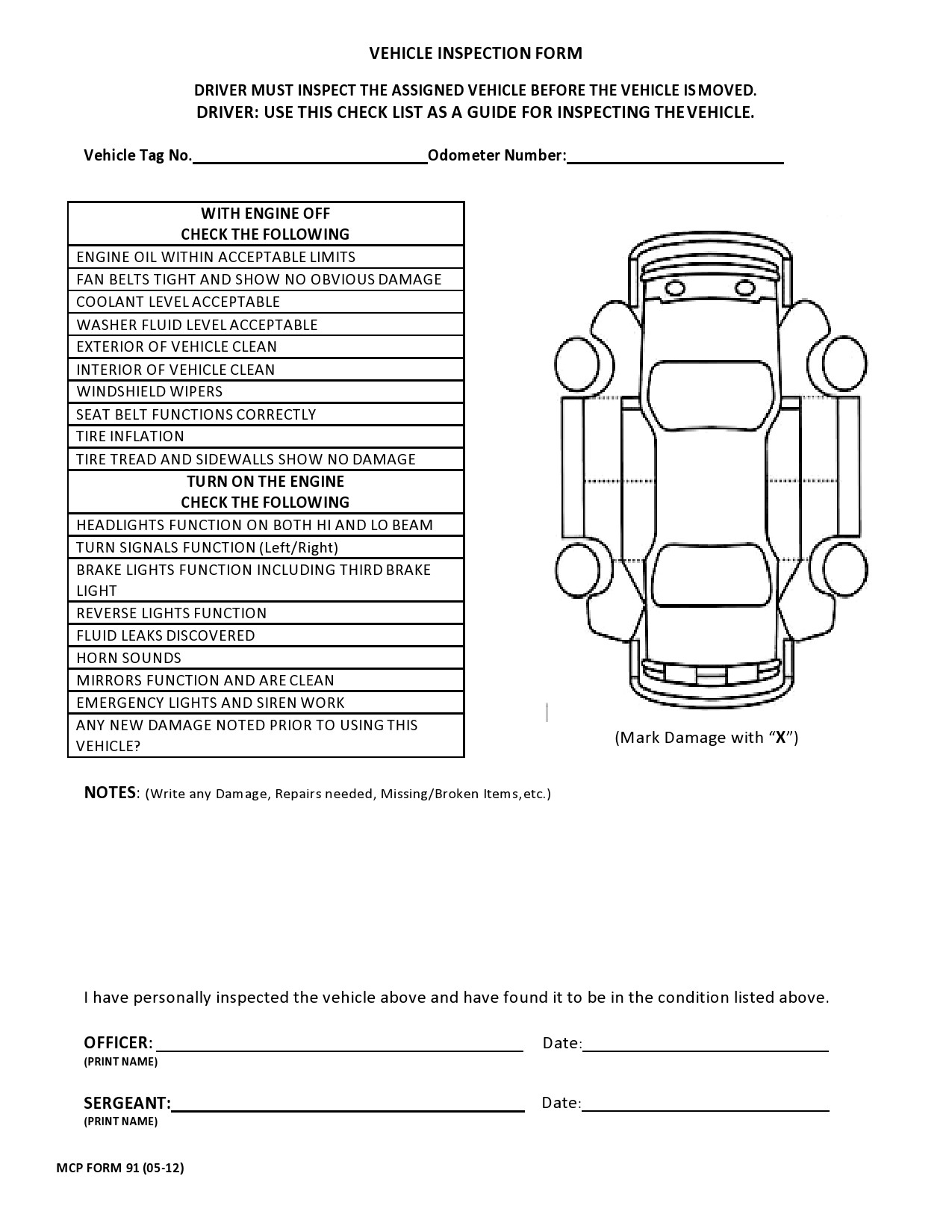 Free vehicle inspection form 08