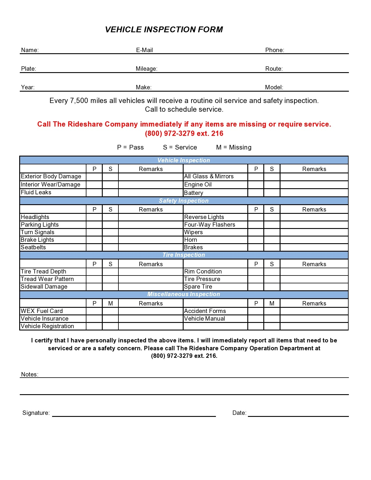 Free vehicle inspection form 14