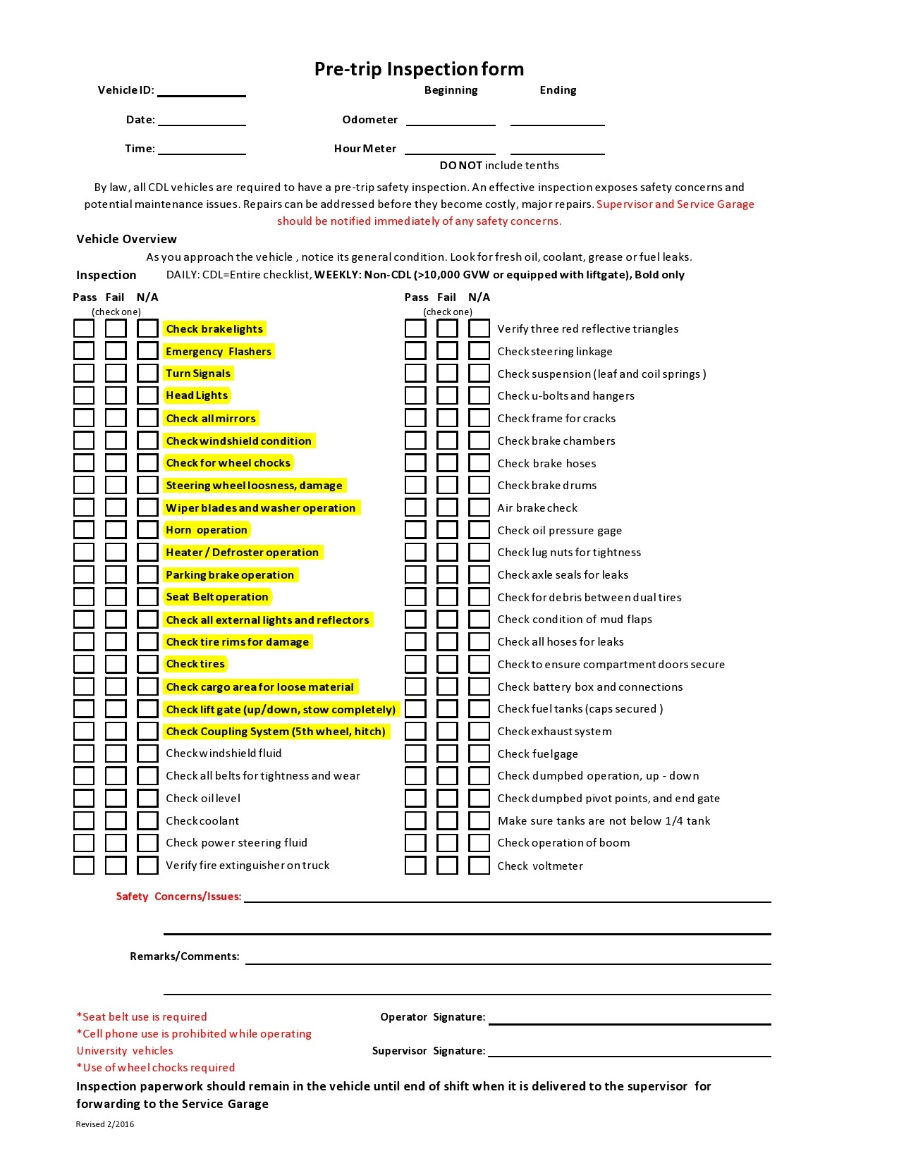 Free vehicle inspection form 17