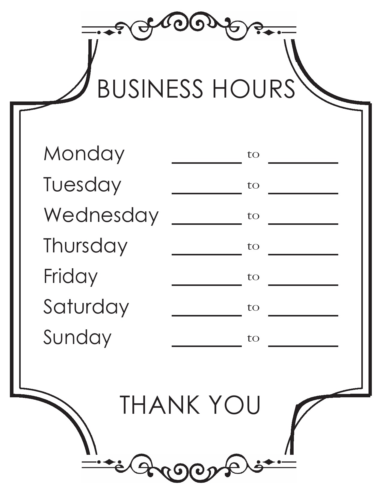 Free business hours template 01