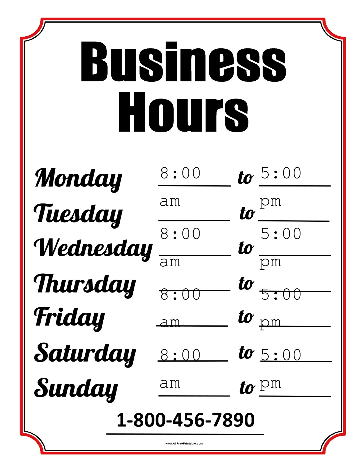 Free business hours template 02