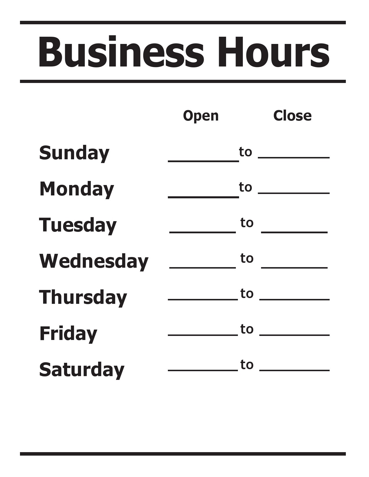 Free business hours template 04