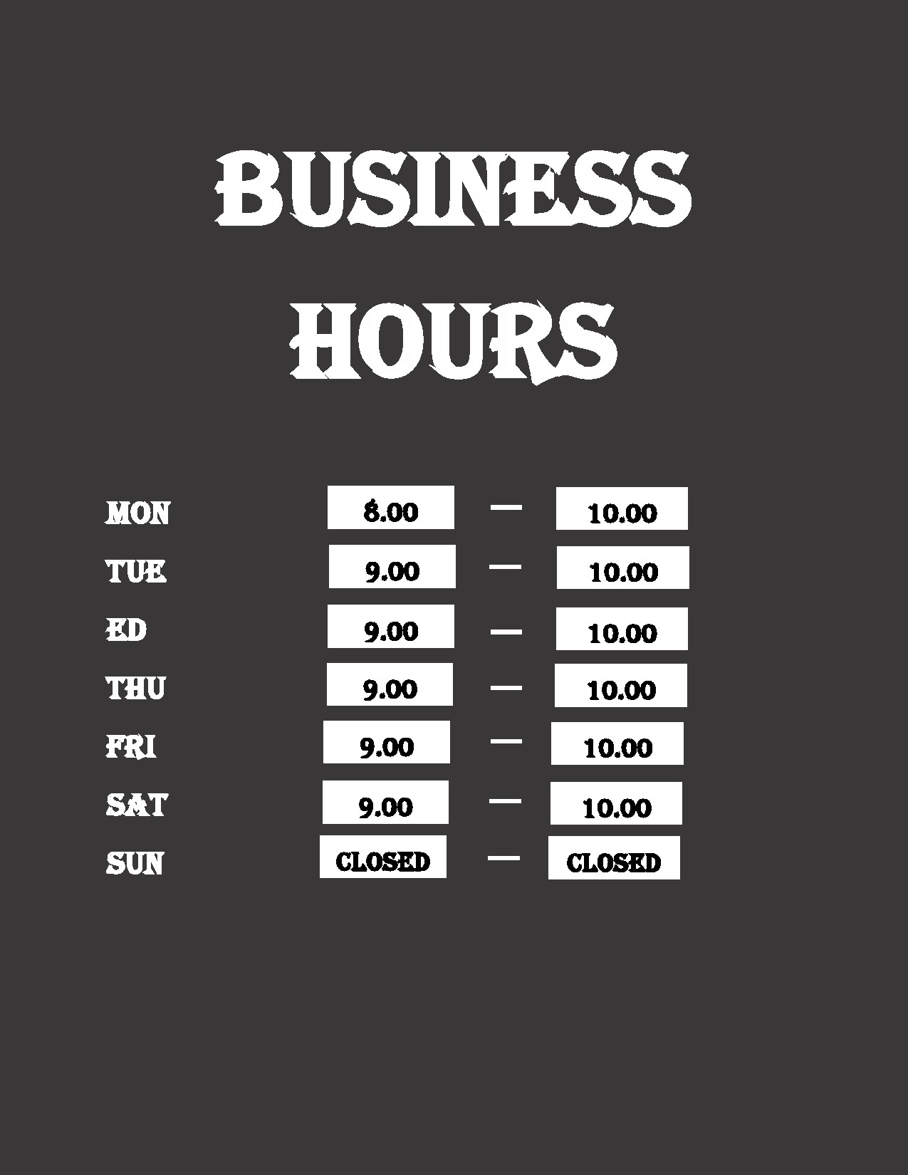 Free business hours template 05