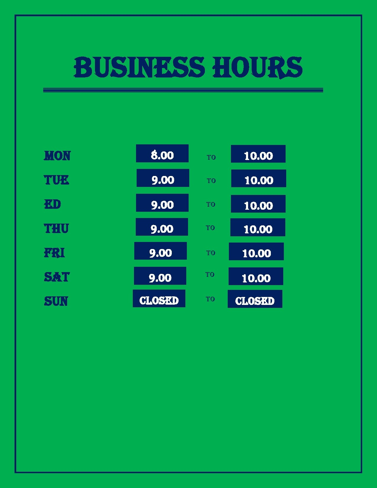 Free business hours template 06