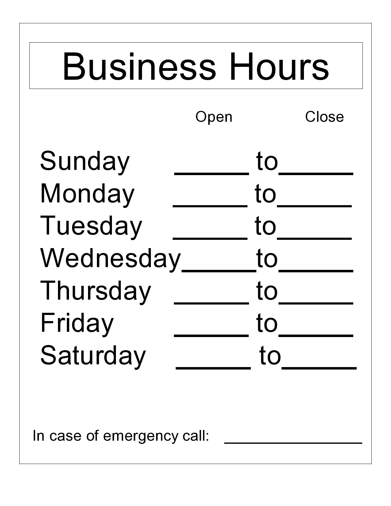 Free business hours template 09
