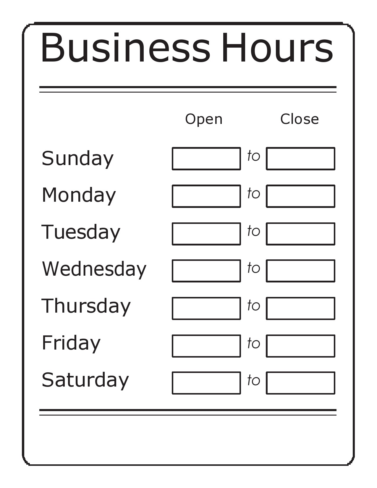 Free business hours template 24