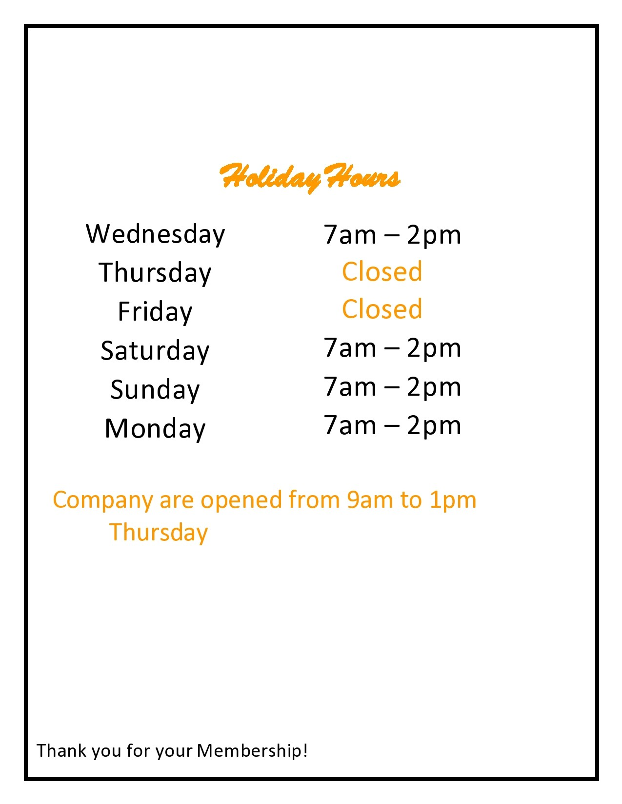 Free business hours template 27