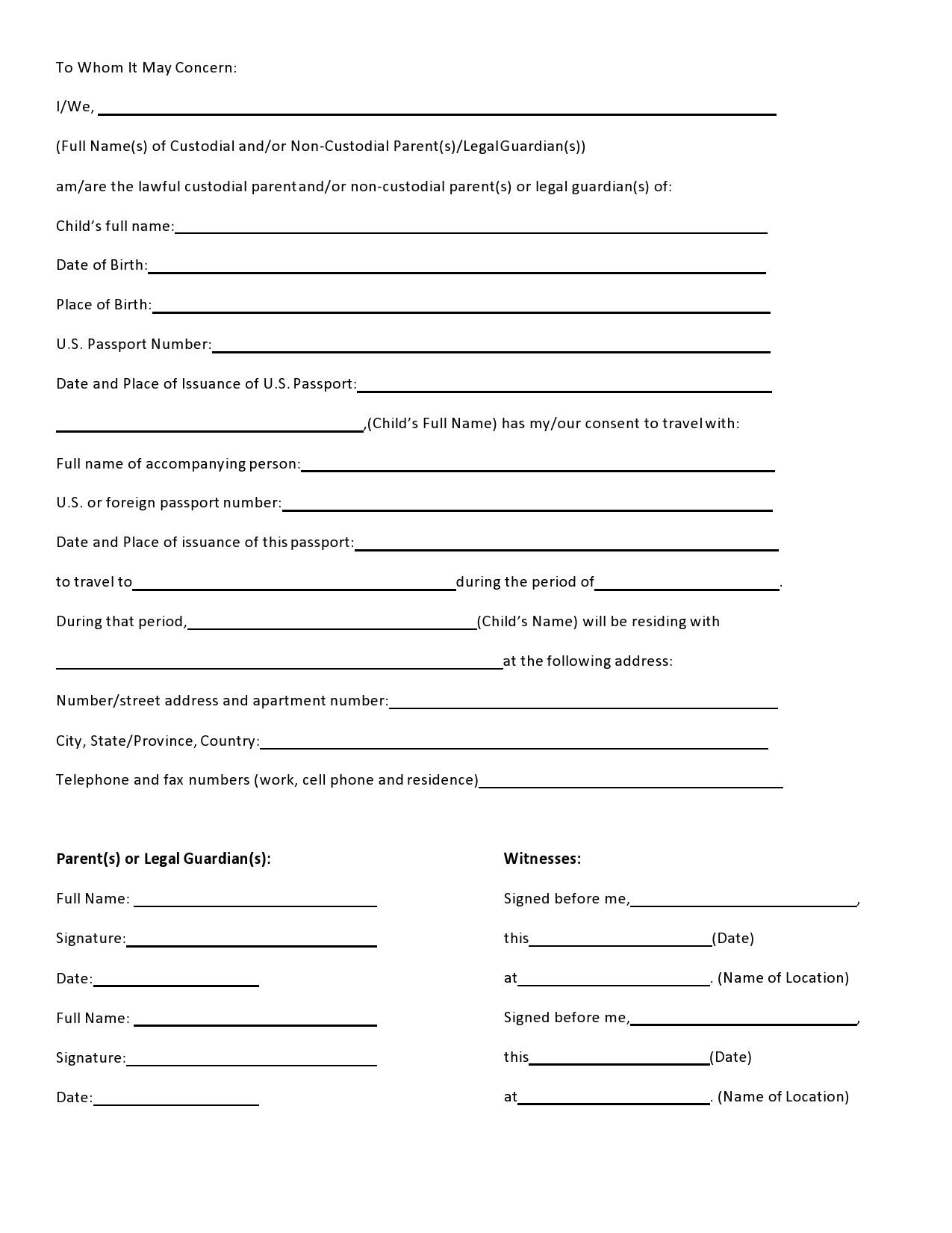 Free child travel consent form 05