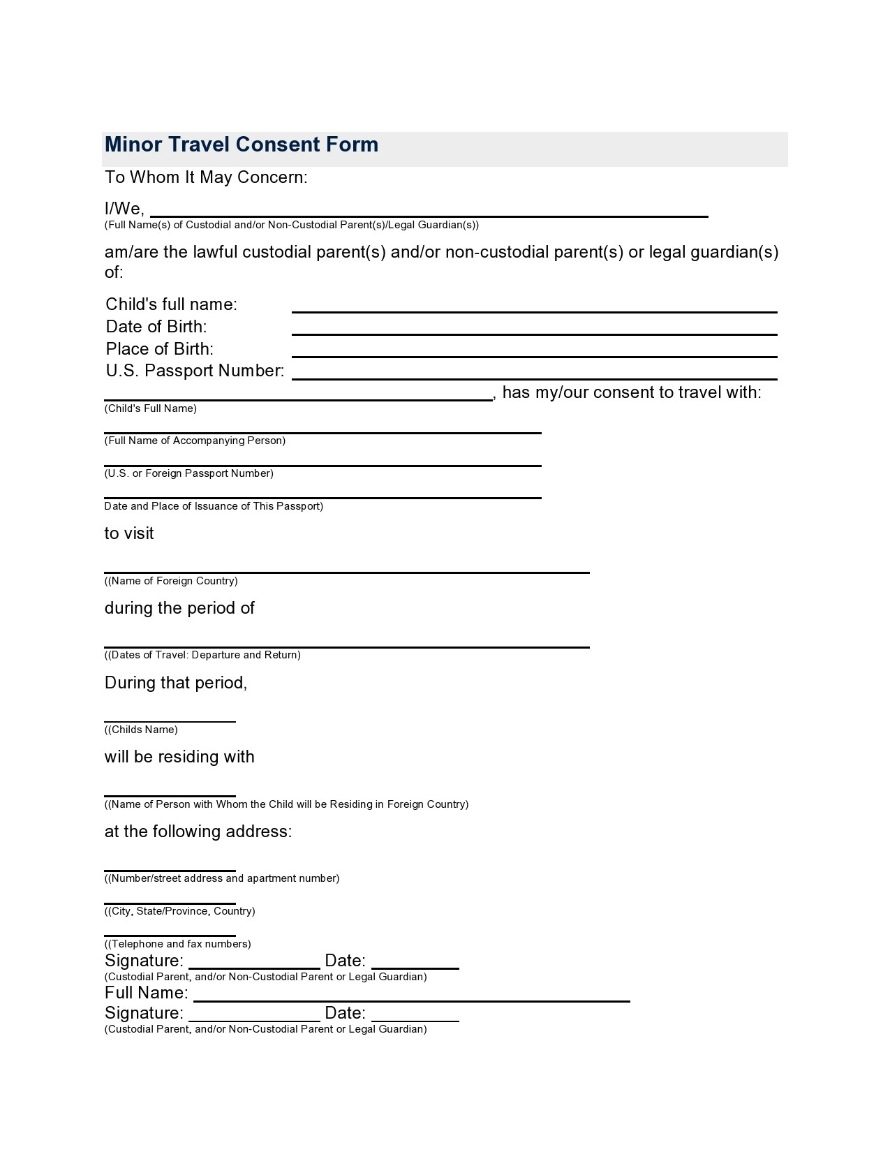 Free child travel consent form 07