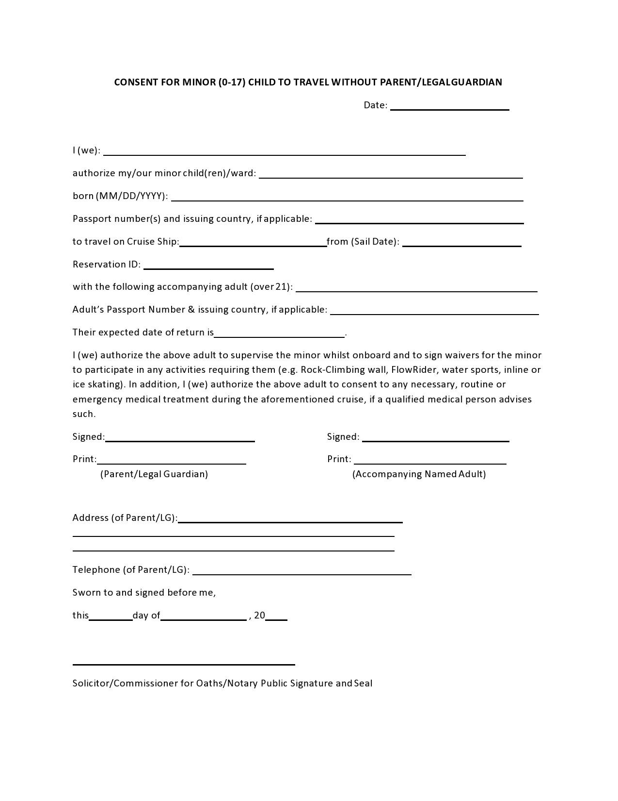 Free child travel consent form 13