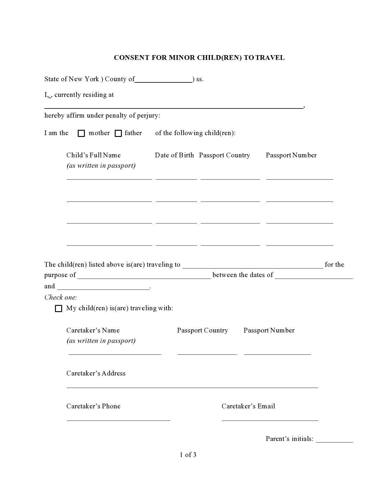 Free child travel consent form 15