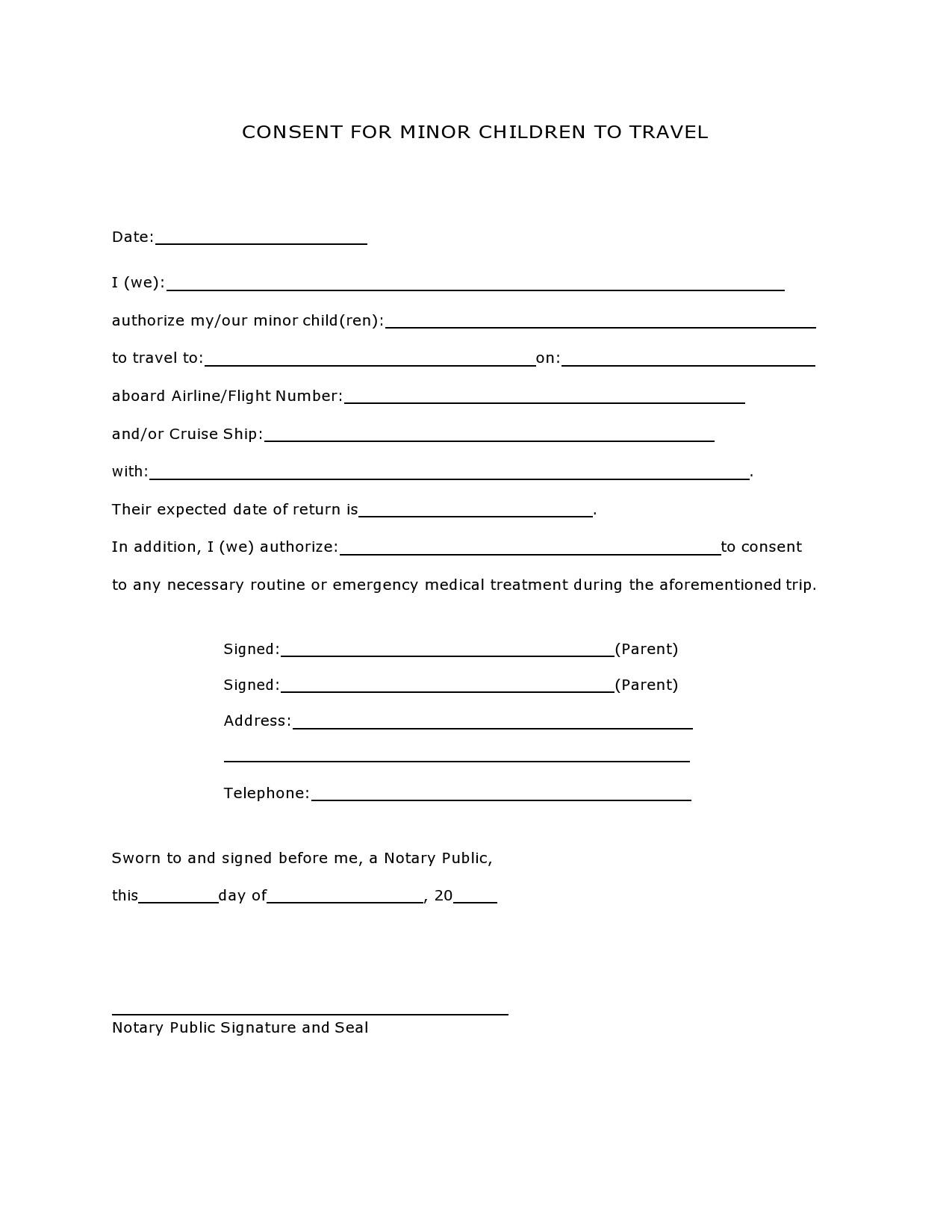 Free child travel consent form 17