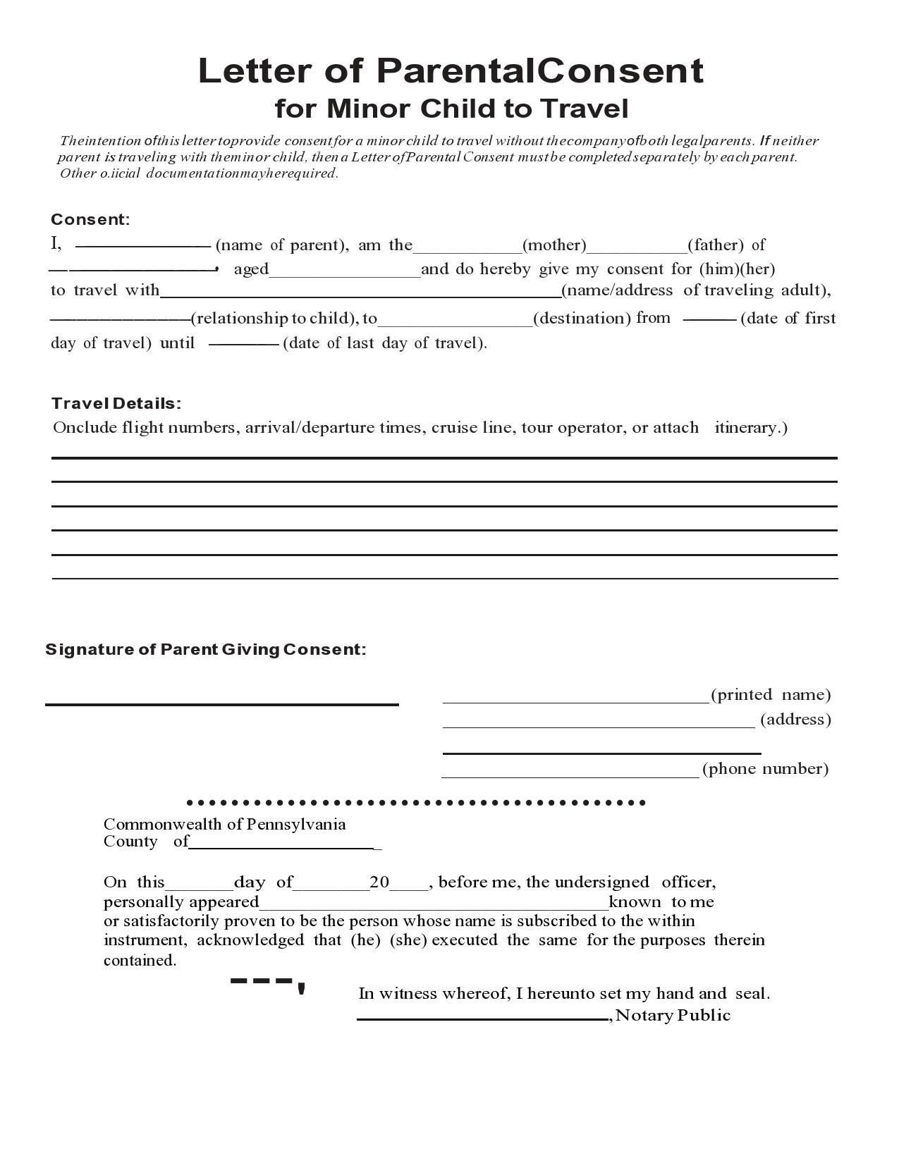 Free child travel consent form 19